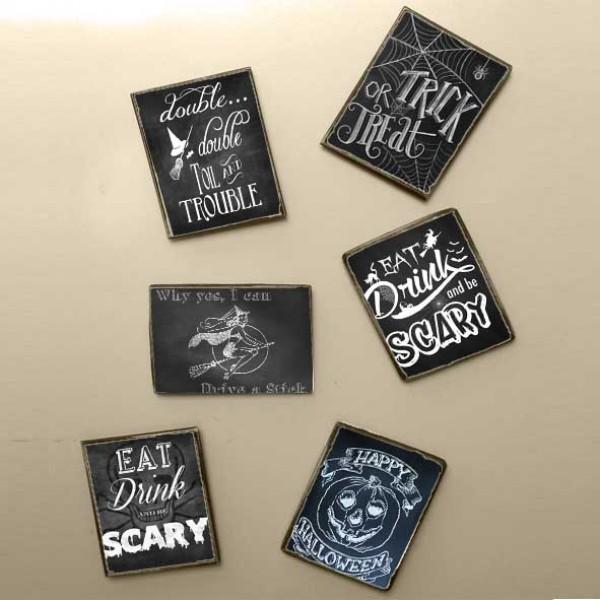 """""""Halloween"""" Ξύλινα Χειροποίητα Μαγνητάκια S/6 τεμ."""