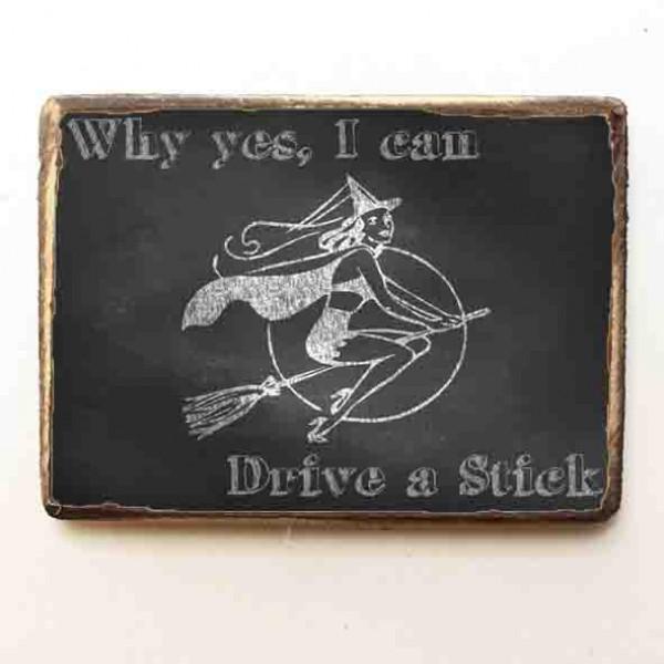 """""""I Can Fly A Stick"""" Ξύλινο Χειροποίητο Μαγνητάκι"""