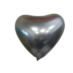 Latex Balloons Heart 30 εκ Satin Lux Platinum Ασημί -100 pcs