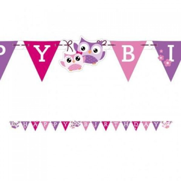 Little Owls Party-Banner με Σημαιάκια 1,8μ